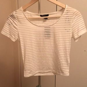 Forever 21 sheer stripe crop top cute sexy club